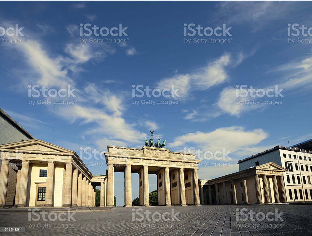 Branderburg Gate in Berlin, text space stock photo