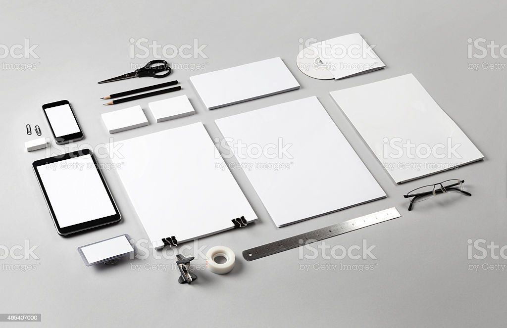 Branding identity illustrated by blank white office tools  stock photo