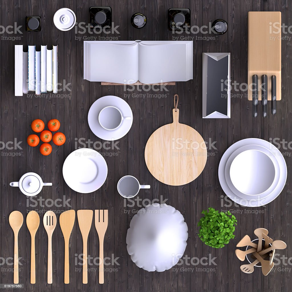 Branding mock up kitchen with table and kitchenware. stock photo