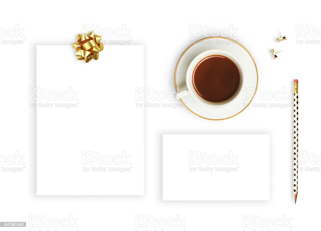 Branding mockups. Flat lay, glamour style. Wedding invitation template. stock photo