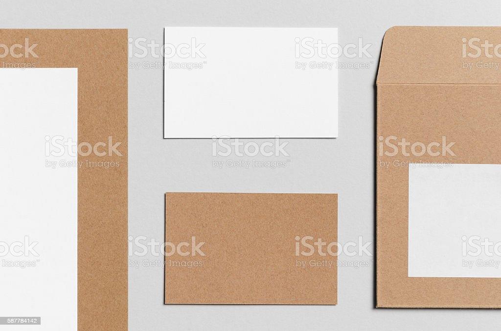 Branding / Stationery Mock-Up - Kraft & White stock photo