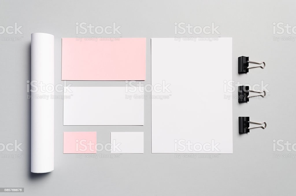 Branding / Stationery Mock-Up - Pink & White stock photo