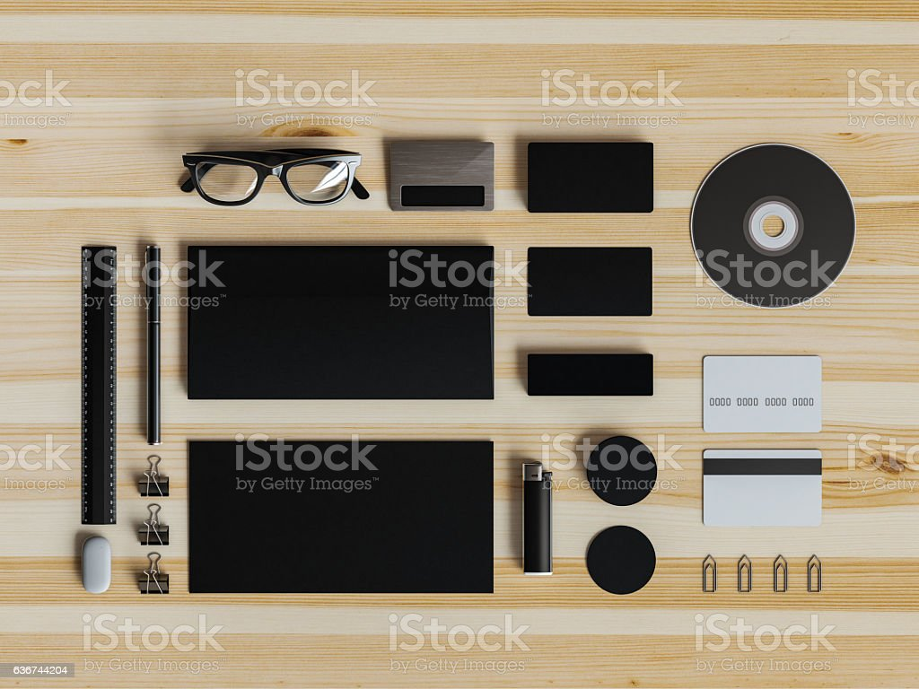 Branding stationery mockup scene. 3D illustration stock photo