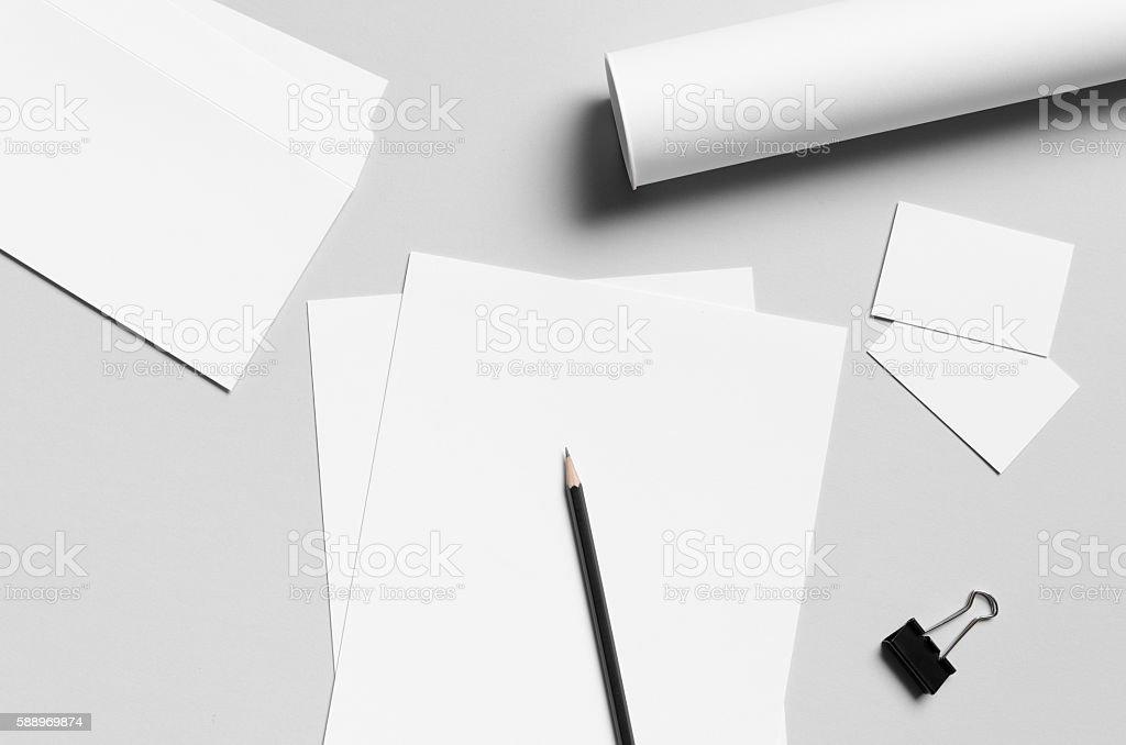 Branding / Stationery Mock-Up - White stock photo