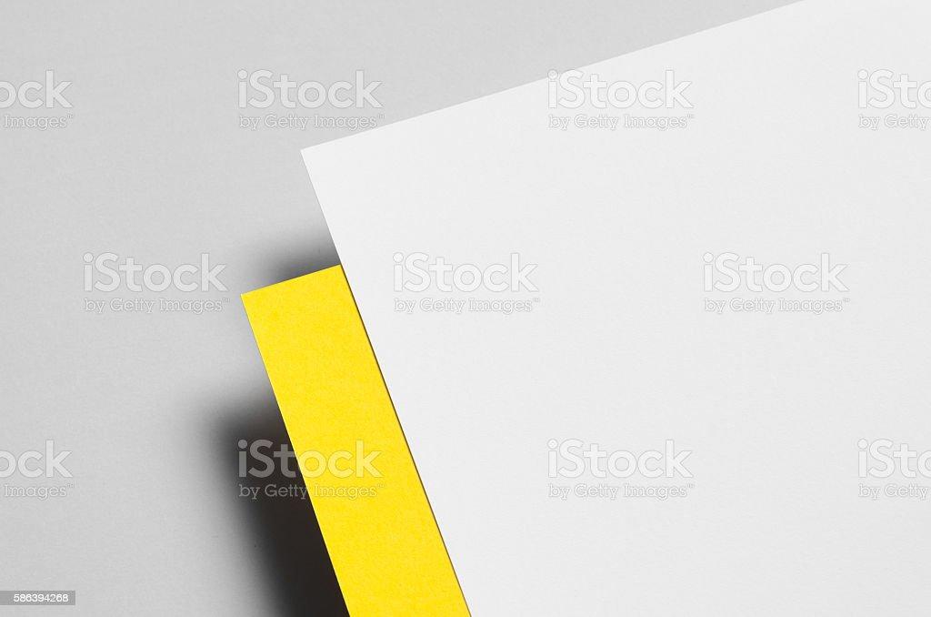 Branding / Stationery Mock-Up - Yellow & White. Close-Up. Floating stock photo