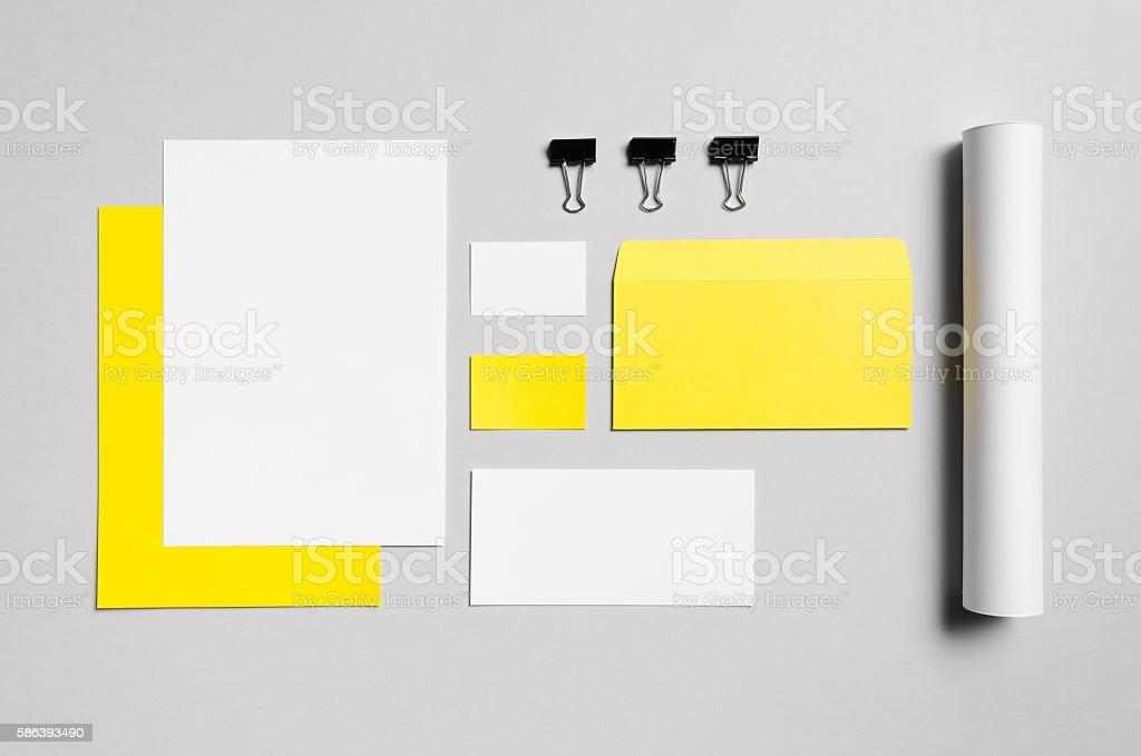 Branding / Stationery Mock-Up - Yellow & White stock photo