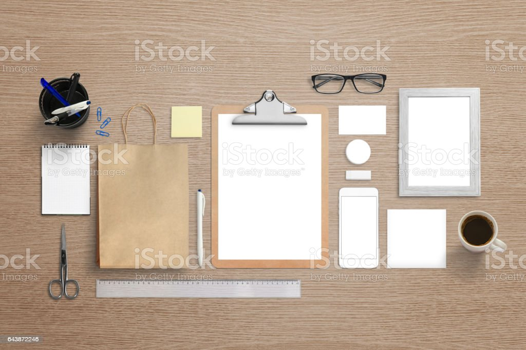 Branding visual identity mockup. Top view of isolated  stationery for logo, brand identity design presentation. stock photo