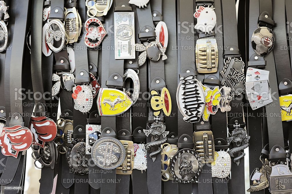 Brand-name Belts at the Flea Market stock photo
