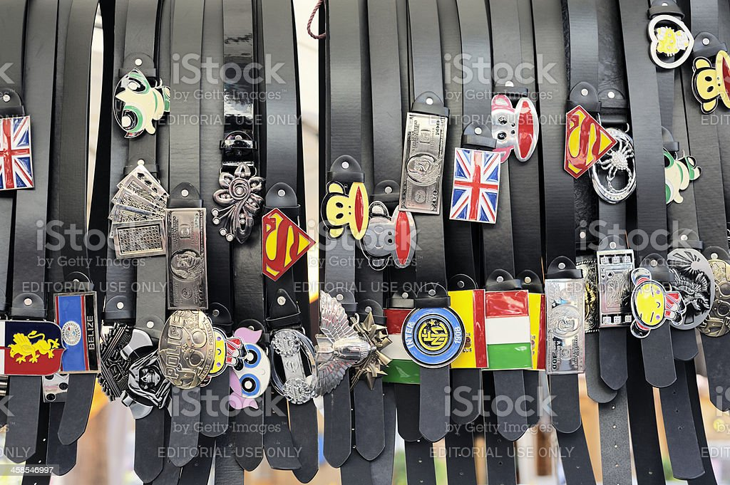 Brand-name Belts at the Flea Market royalty-free stock photo