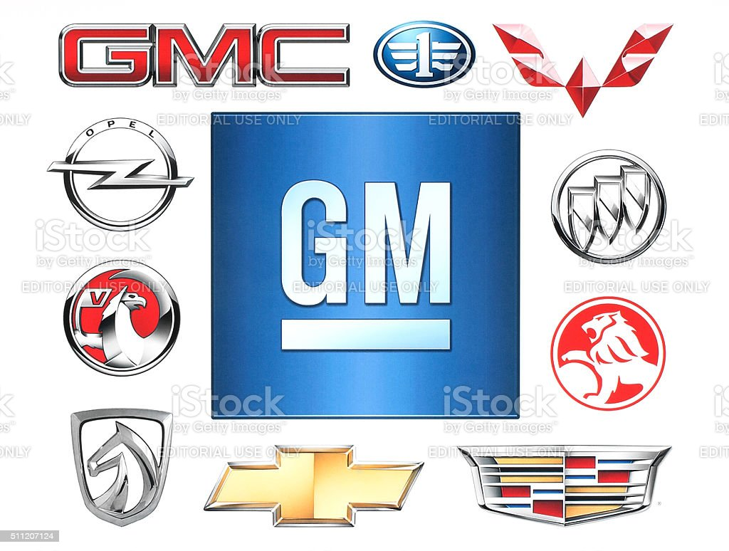 Brands of General Motors Company printed on paper. stock photo