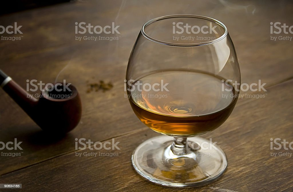 Brandy and pipe I royalty-free stock photo