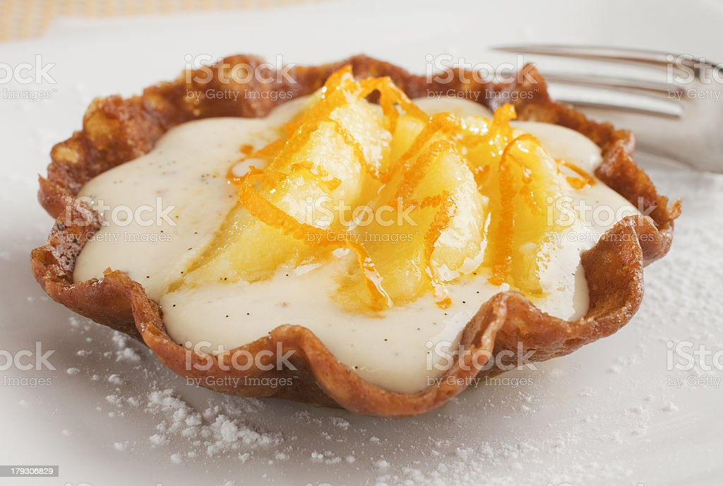 Brandy Basket with Apple and Custard stock photo