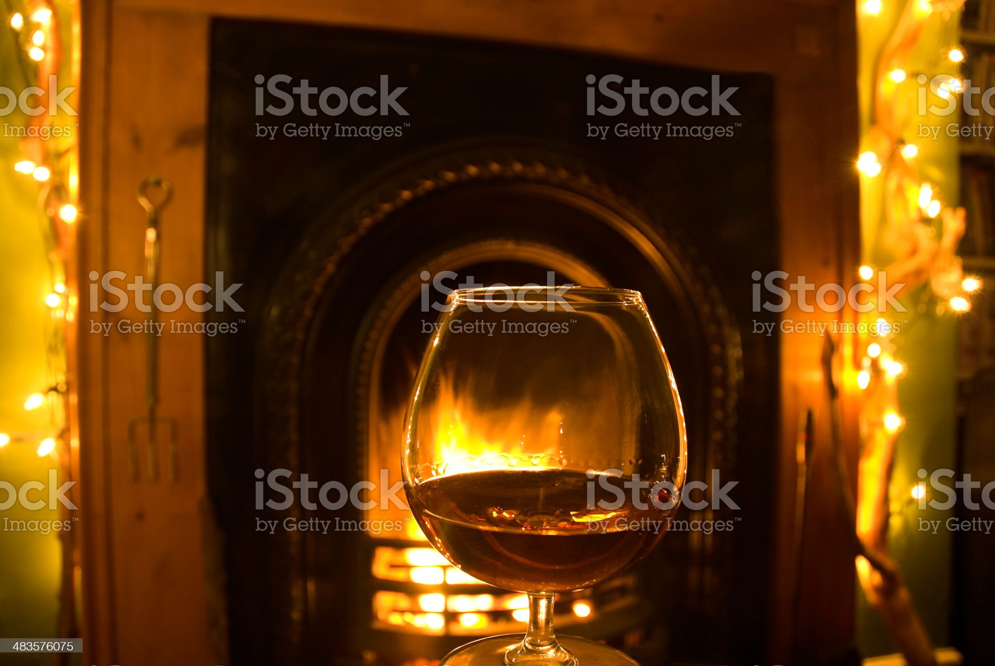 Brandy beside the fire royalty-free stock photo