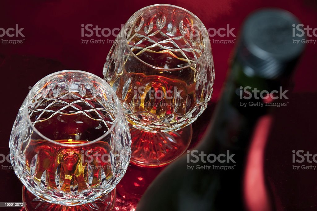Brandy in Crystal Glass stock photo