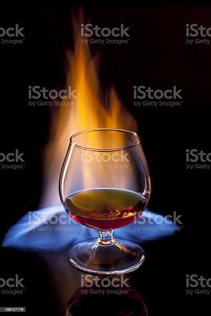 Brandy on fire royalty-free stock photo