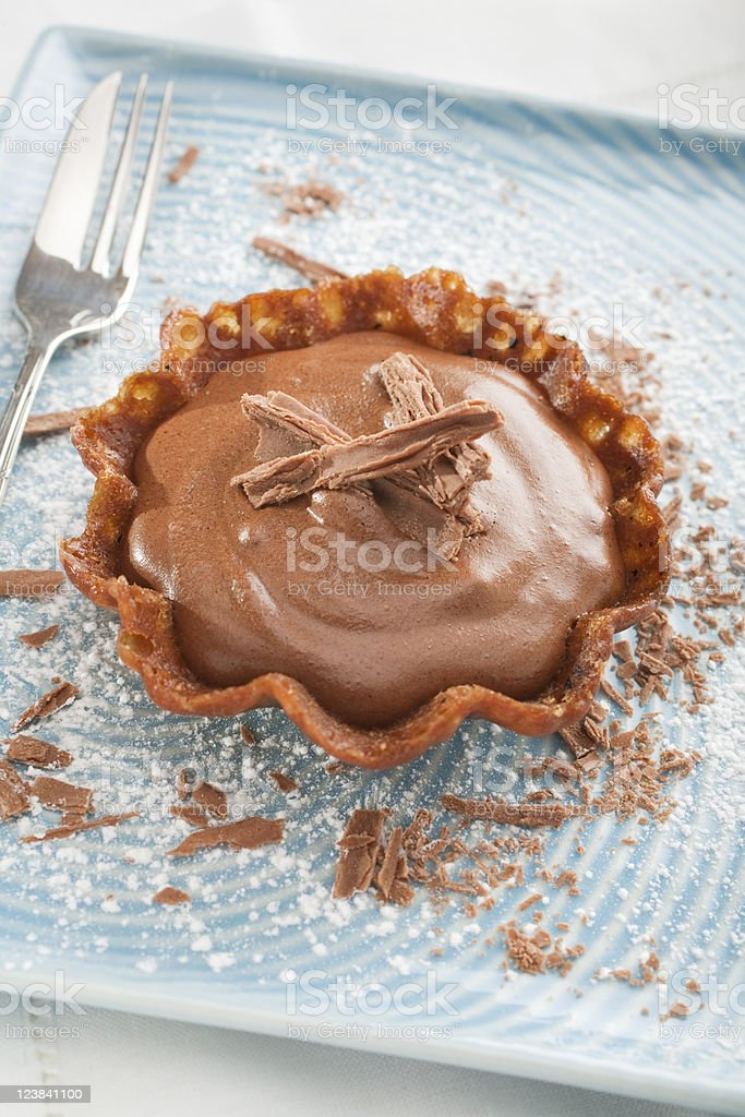 Brandy Snap Basket Filled with Chocolate stock photo