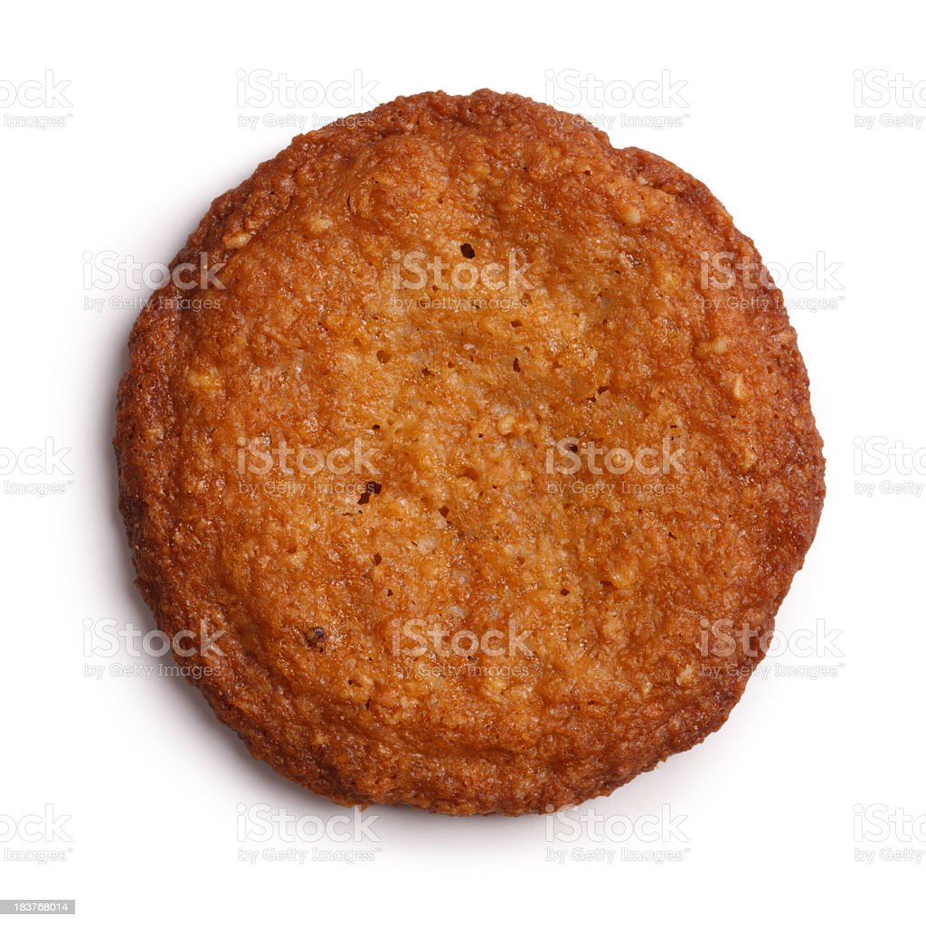 Brandy Snap Cookie Isolated + Clipping Path stock photo