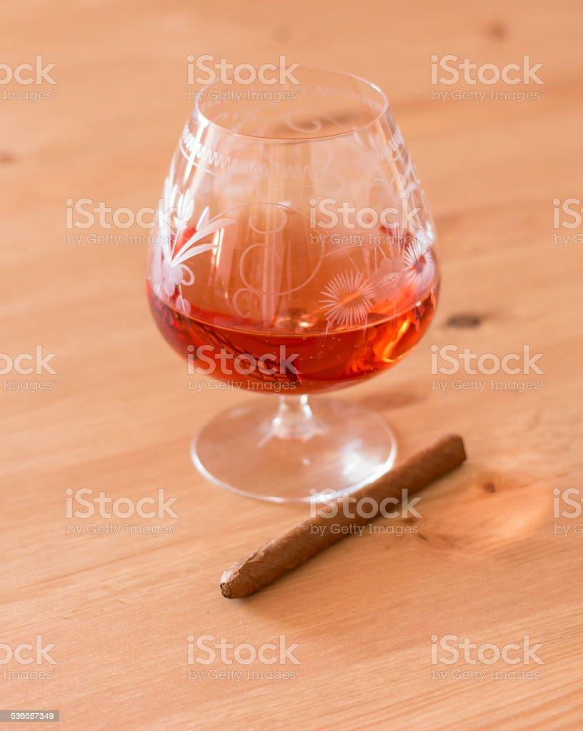 Brandy und Zigarillo stock photo