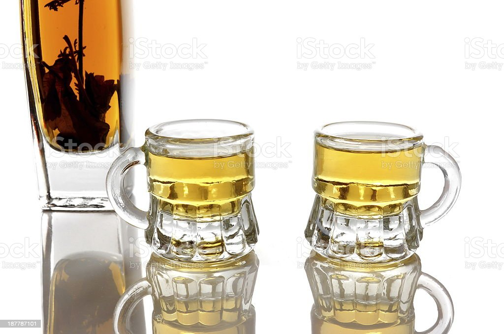 brandy with herb and two glasses royalty-free stock photo