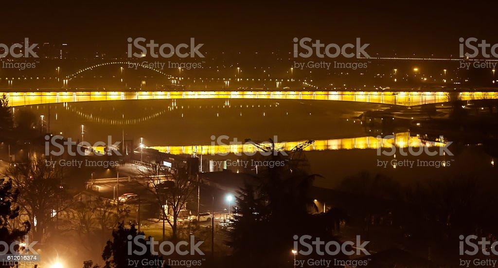 Branko's bridge by night stock photo