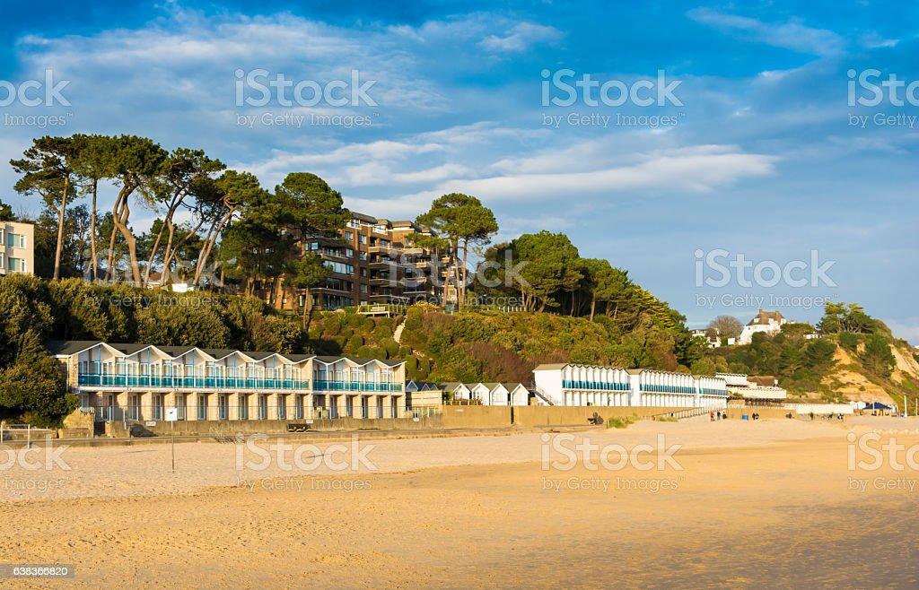 Branksome Chine Beach Huts towards Bournemouth stock photo