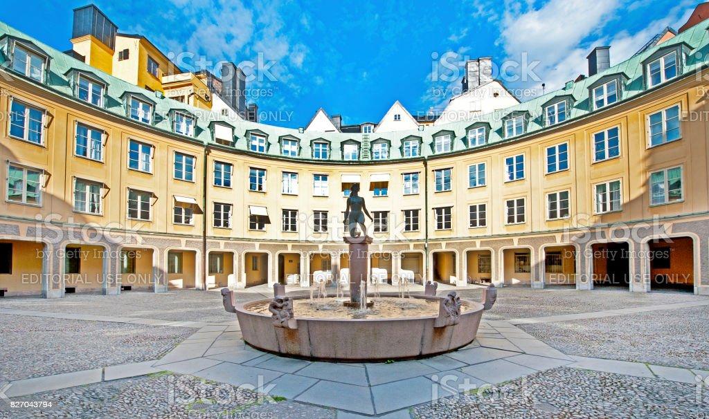 Brantingtorget courtyard in sunlight, Gamla Stan, Stockholm, Sweden stock photo