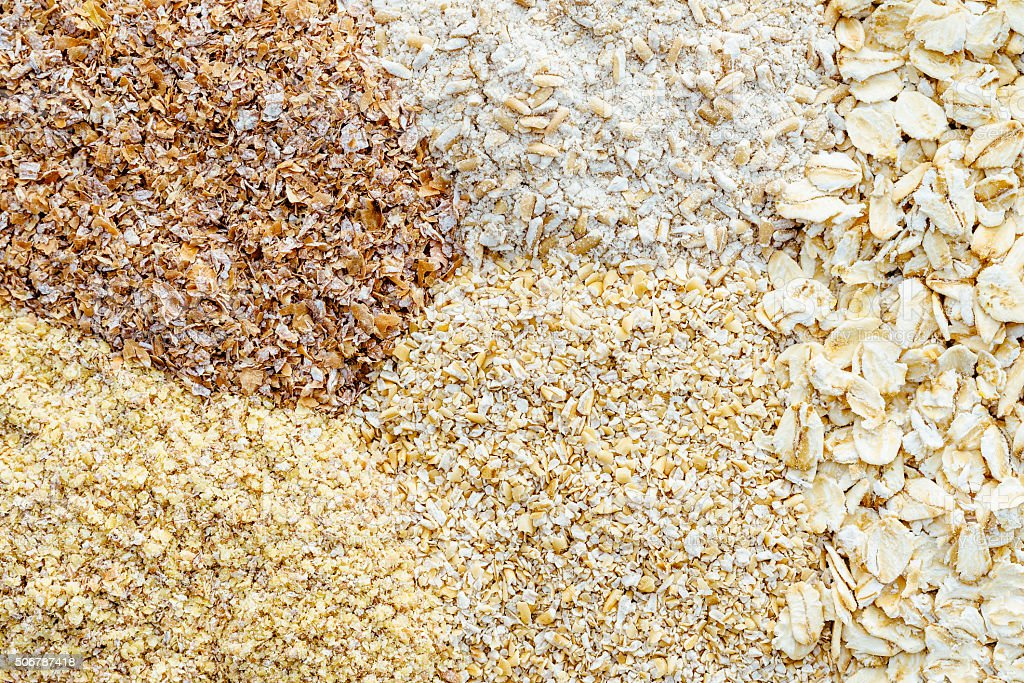 Bran,wheatgerm,oatbran,oat flake,oatmeal stock photo