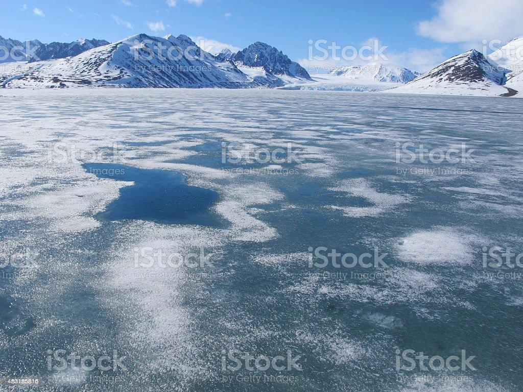 Brash sea ice covering ocean stock photo