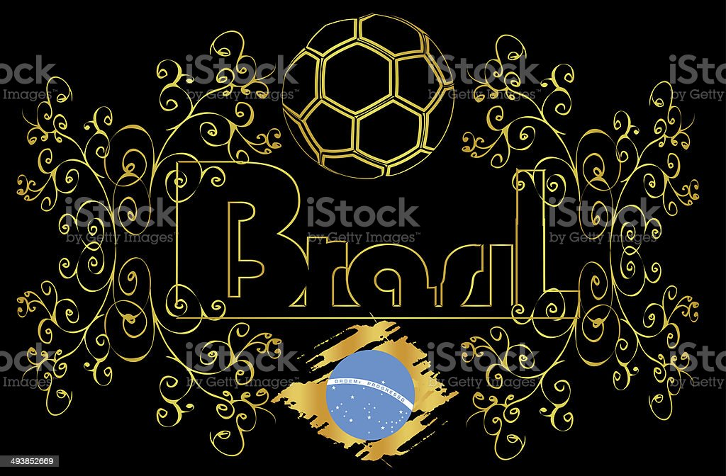 Brasil soccer background gold black stock photo