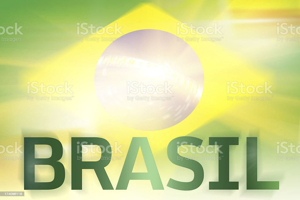 Brasil written on abstract flag background royalty-free stock photo