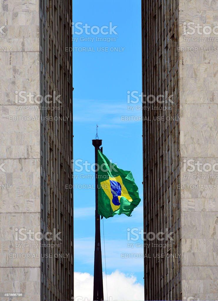 Brasilia, Brazil: giant Brazilian flag stock photo