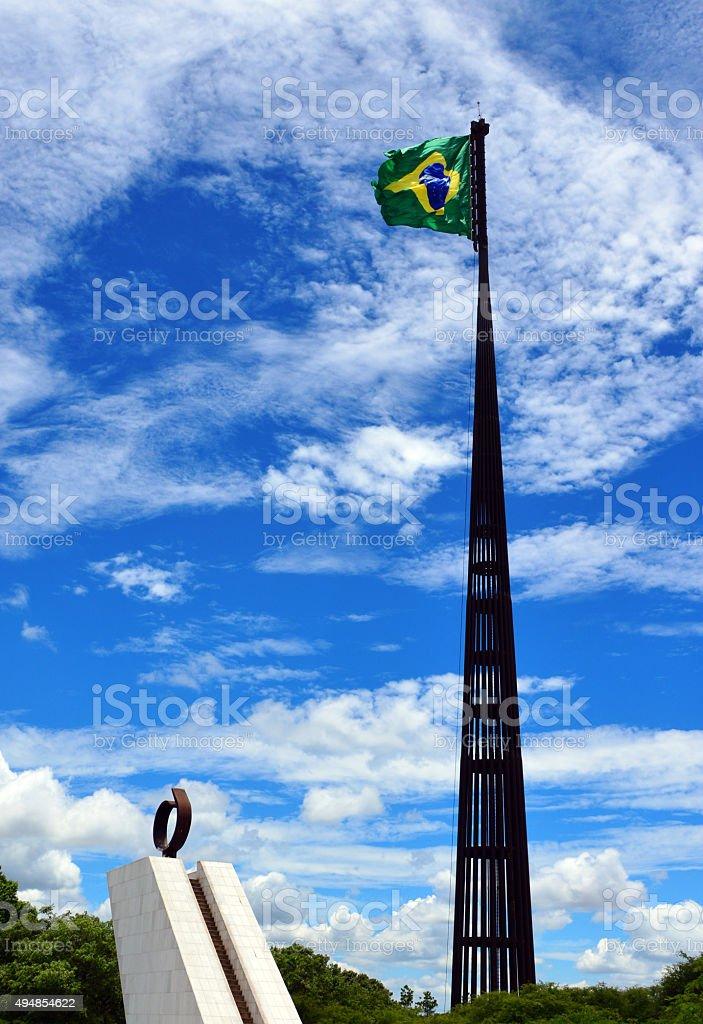 Brasilia, Brazil, world's largest permanently hoisted flag stock photo
