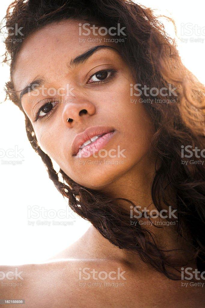 Brasilian girl look into camera stock photo
