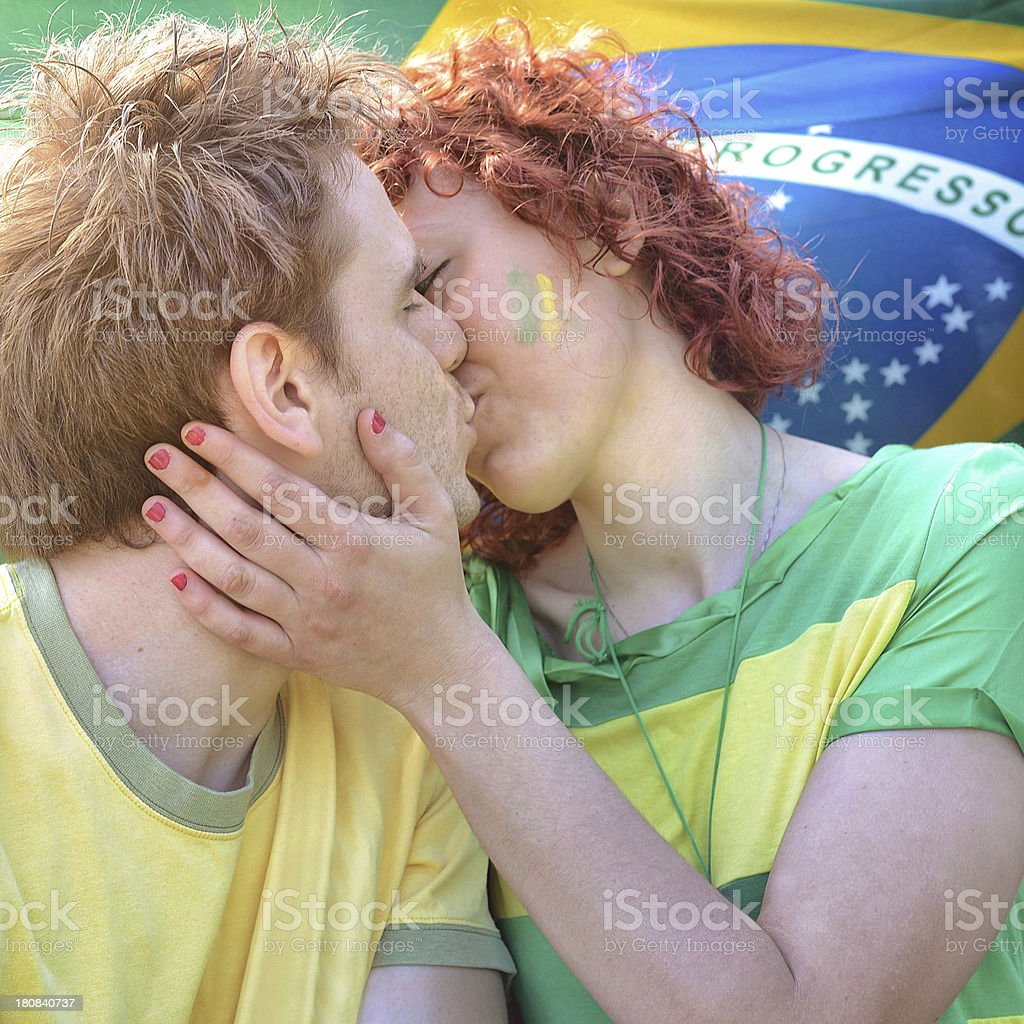 Brasilian supporters in love royalty-free stock photo