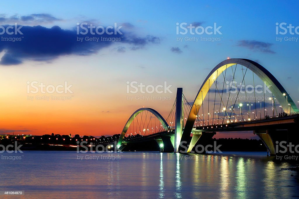 Brasilia's Cerrado Sunset and JK Bridge stock photo