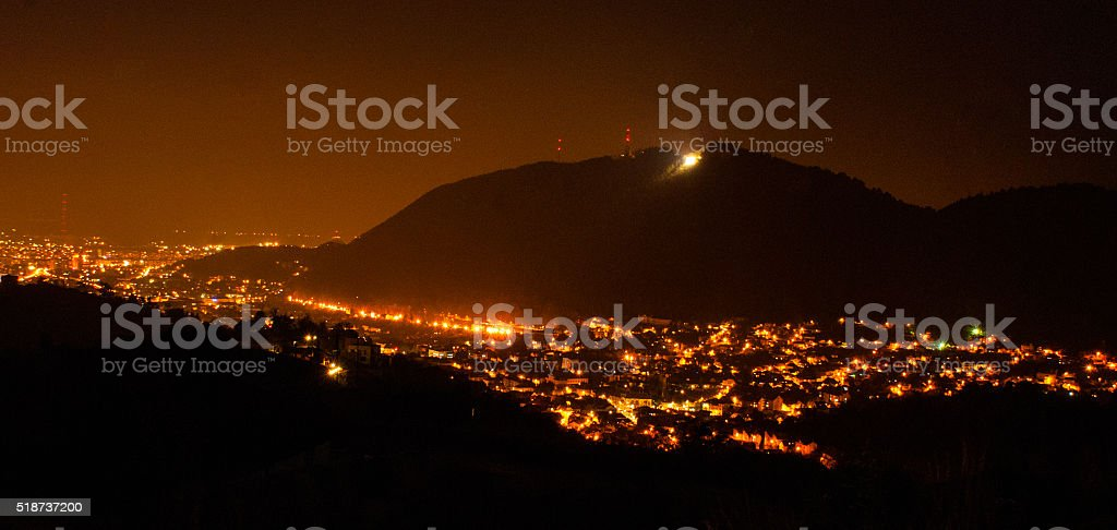 Brasov city by night stock photo