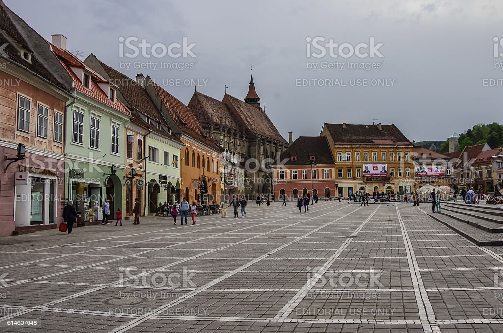 Brasov Council Square is historical center of city stock photo