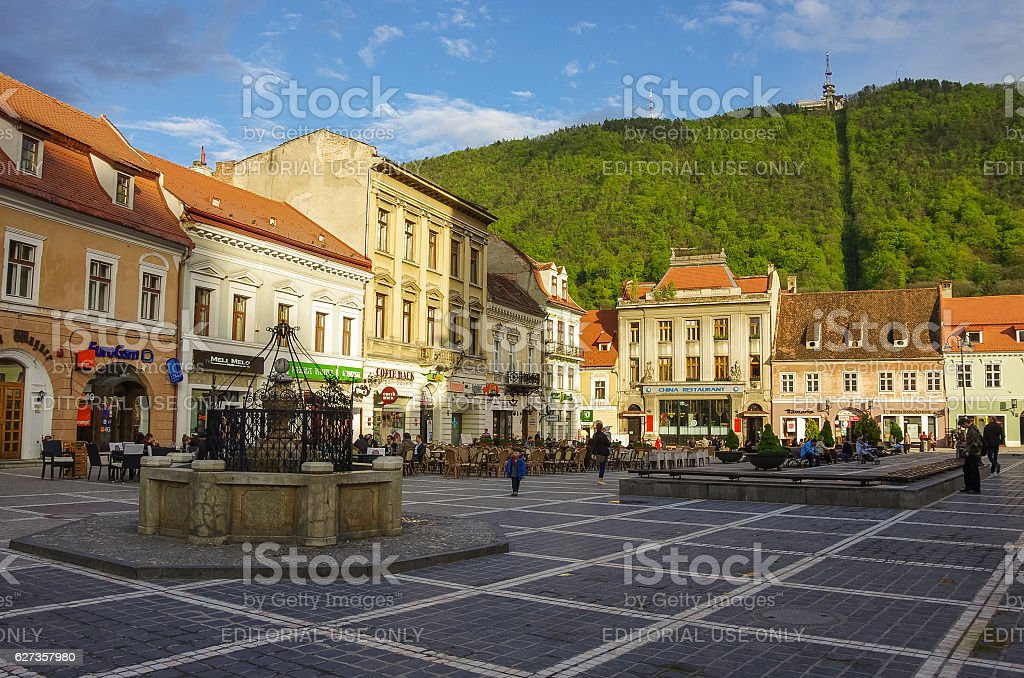 Brasov Council Square is historical center stock photo