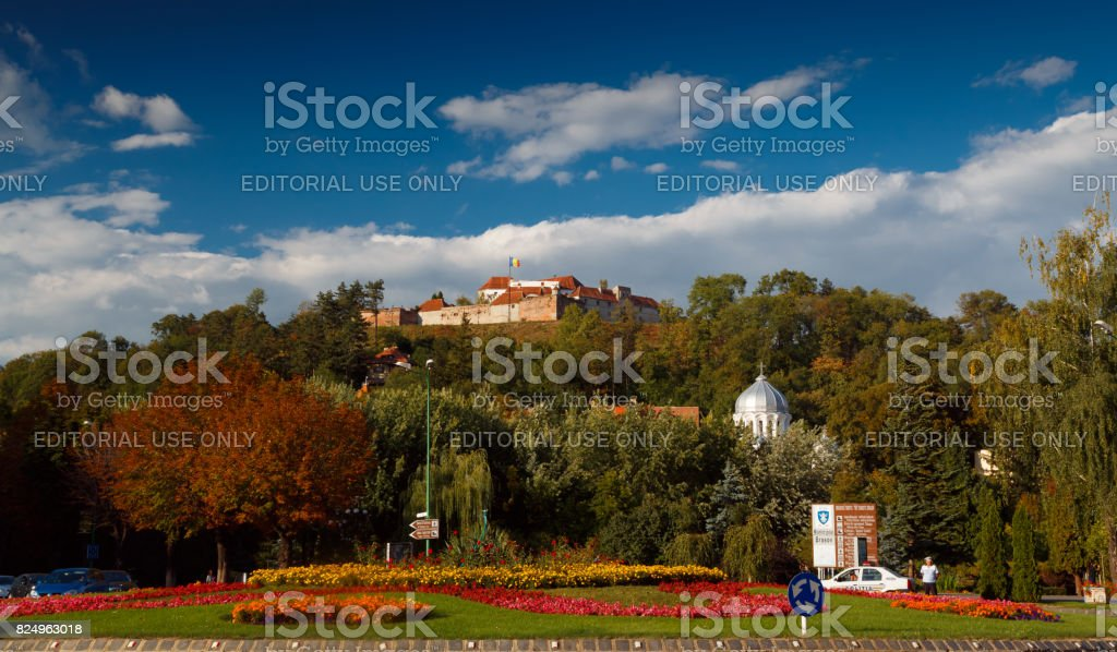 Brasov downtown and citadel stock photo