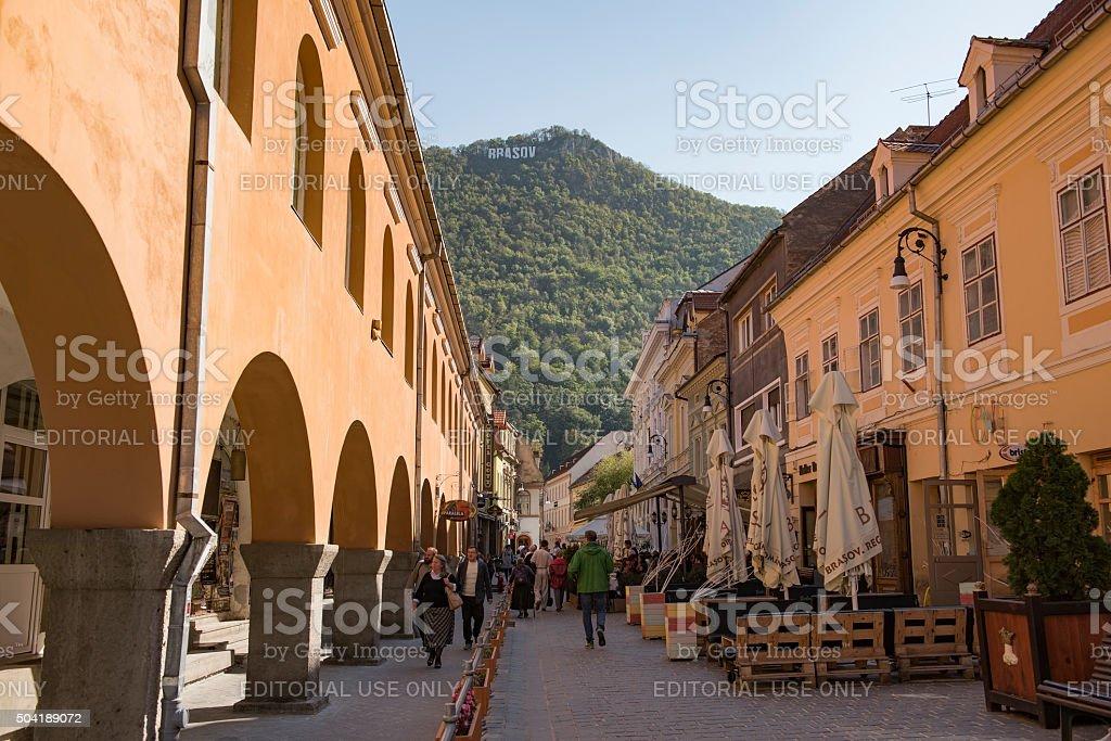 Brasov historical center of city in 2015. stock photo