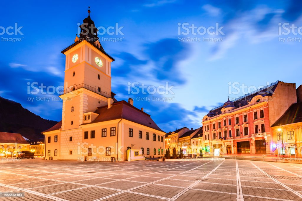 Brasov, Main Square, Transylvania - Romania stock photo