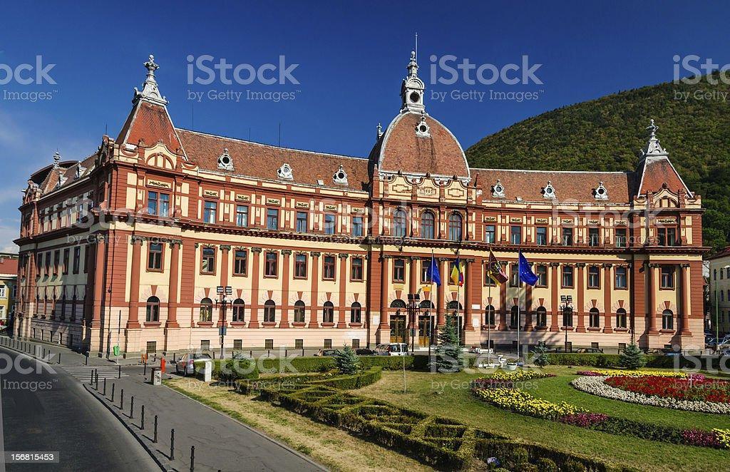 Brasov, neobaroque administration building. Romania stock photo