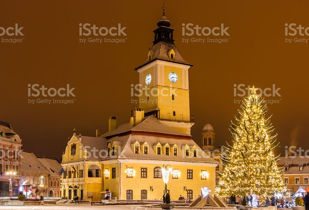 Brasov, Romania with an old Christmas tree stock photo