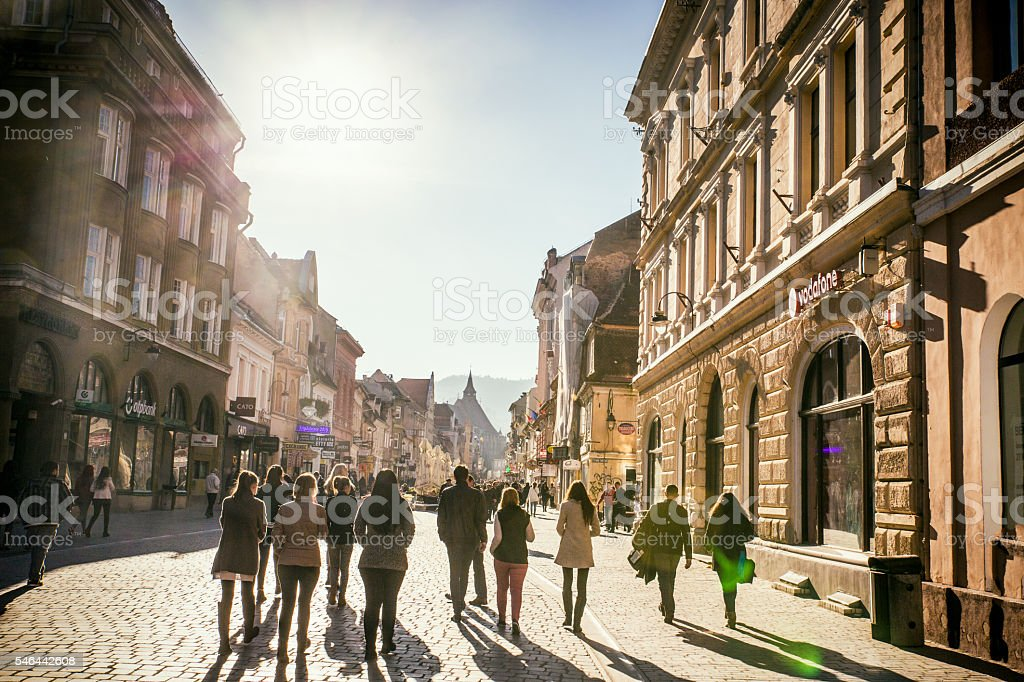 Brasov street scene stock photo