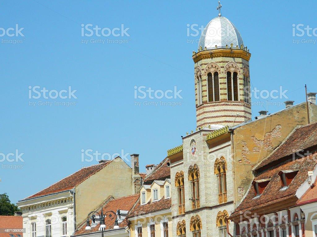 Brasov synagogue in mai town square, Romania. stock photo