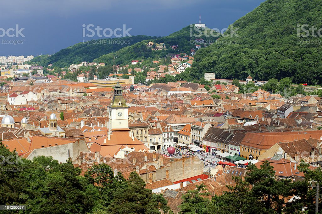 Brasov Town Square, Romania stock photo