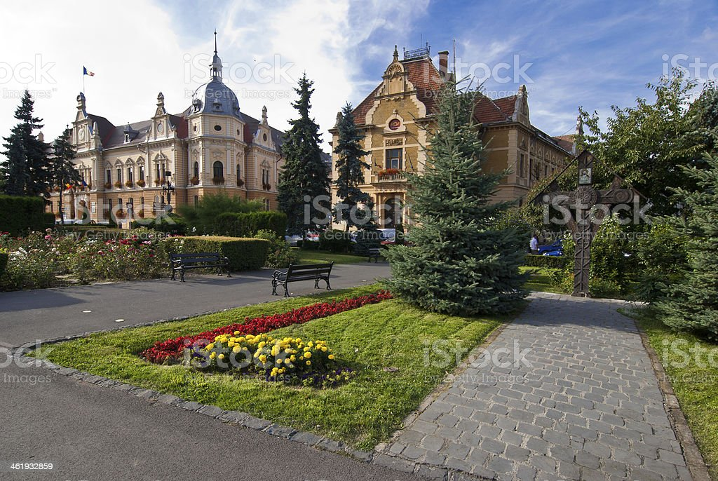 Brasov townhall, neobaroque architecture style stock photo