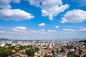 Brasov, Transilvania, Romania. Panoramic view with the new city