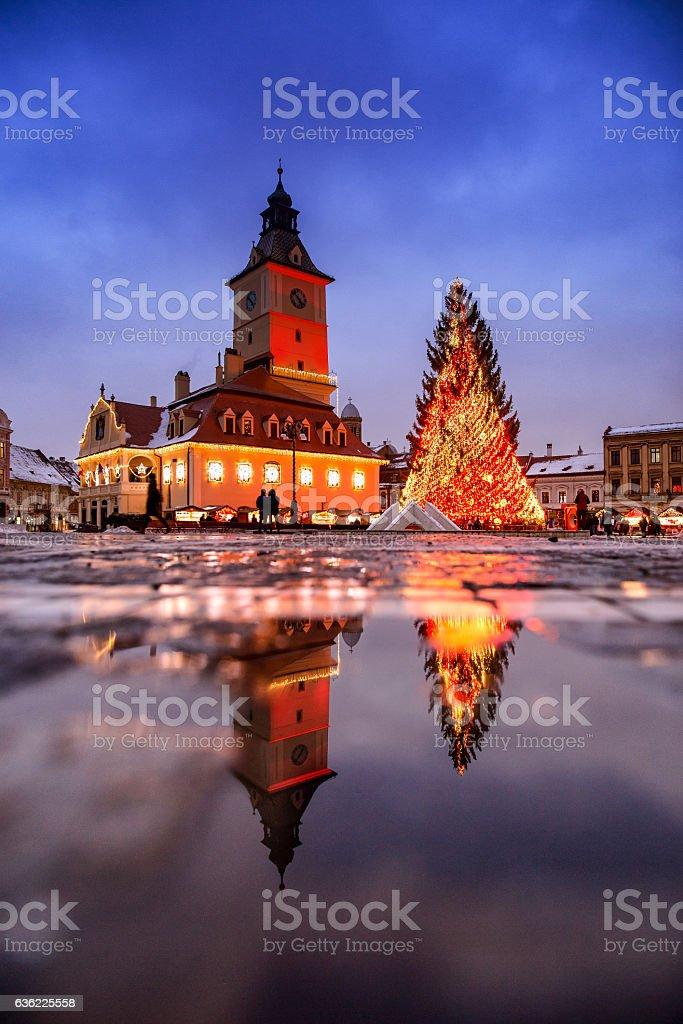 Brasov Transylvania Christmas Market and decorations.  Piata Sfa stock photo