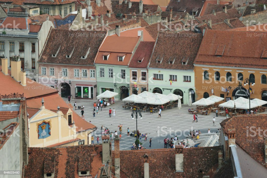 Brasov,Transylvania,Romania - September 22 2016 : Old City Hall Square in Brasov circa 2016 stock photo